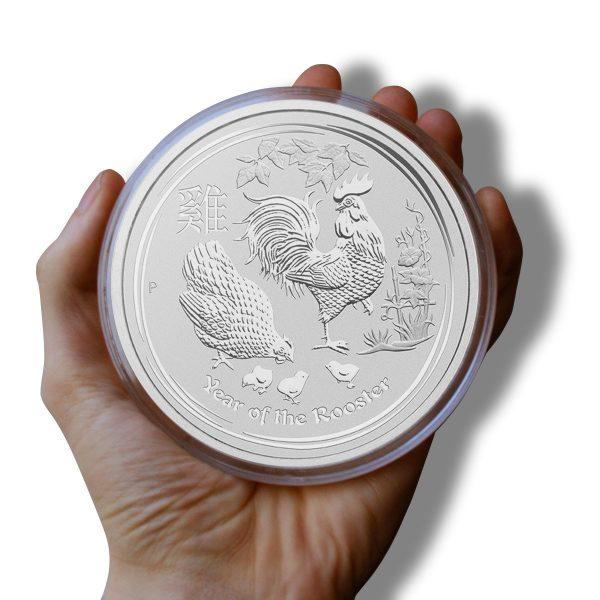 1 kg Silbermünze Lunar II Hahn 2017