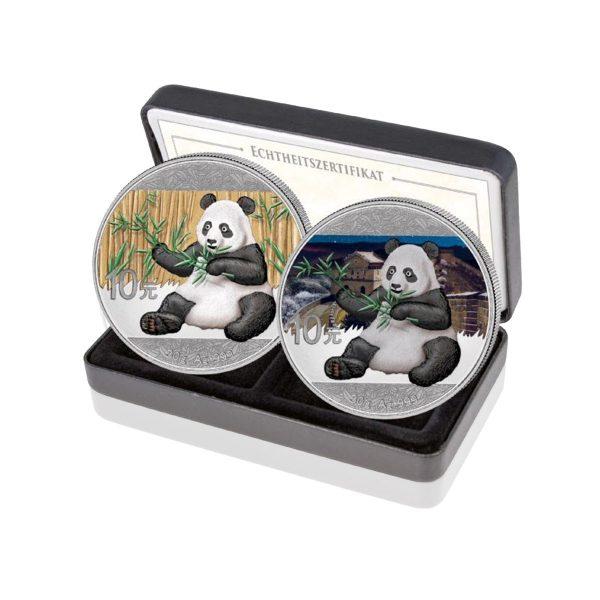 Silber China Panda Tag & Nacht Set 2017 (Auflage: 500)