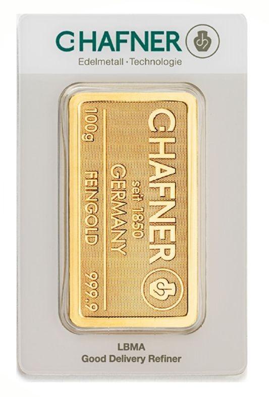 100 Gramm, Goldbarren C. Hafner