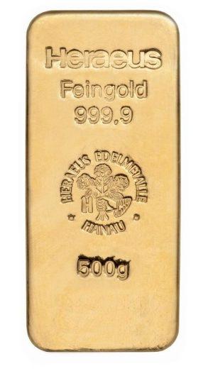 500 gr Goldbarren Heraeus