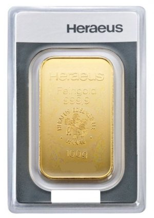 100 gr Goldbarren Heraeus