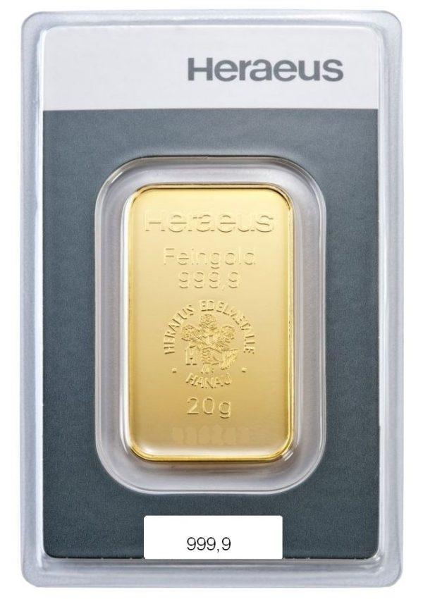 20 gr Goldbarren Heraeus