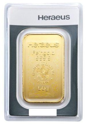 50 gr Goldbarren Heraeus