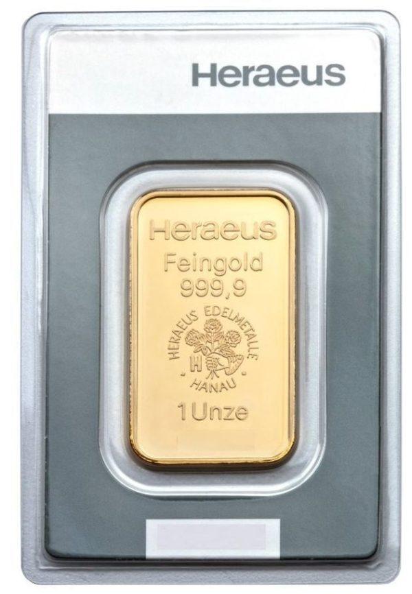 1 Unze, Goldbarren Heraeus