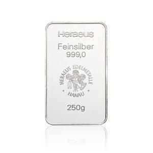 250 gr Silberbarren Heraeus