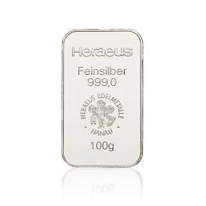 100 gr Silberbarren Heraeus