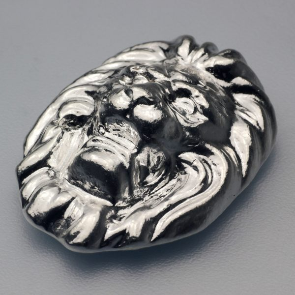 """5 Unze Silber """"Löwenkopf"""", Gußbarren"""