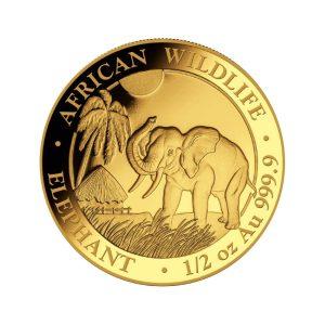 1/2 Unze Goldmünze Somalia Elefant 2017
