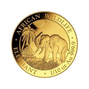1/10 Unze Goldmünze Somalia Elefant 2017