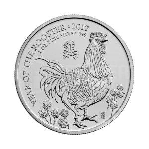 1 Unze Silbermünze Lunar UK Hahn 2017