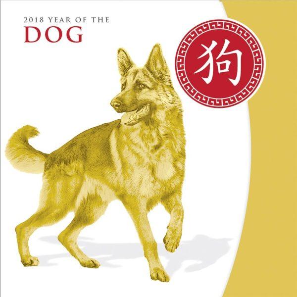 5 Unzen Silber Hund 2018 Teilvergoldet