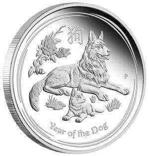2 Unzen Silbermünze Lunar II Hund 2018