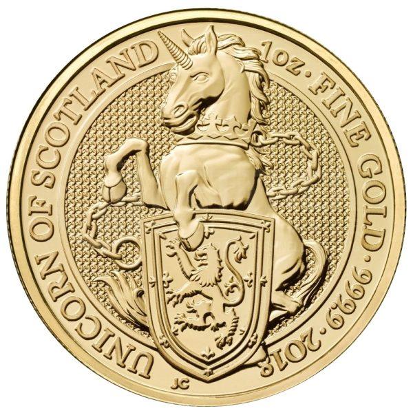 1 Unze Goldmünze Queens Beasts The Unicorn of Scotland 2018