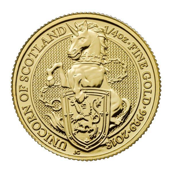 1/4 Unze Goldmünze Queens Beasts The Unicorn of Scotland 2018