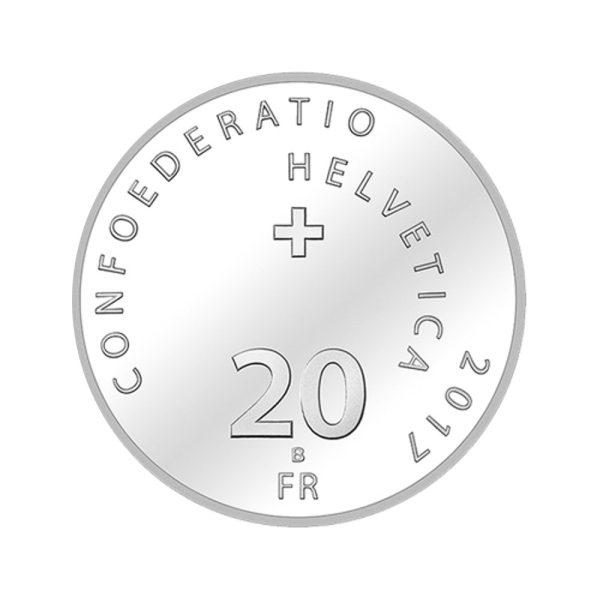20 CHF Silbermünze Dampfschiff Uri