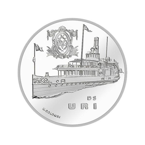 20 CHF Silbermünze Dampfschiff Uri PP