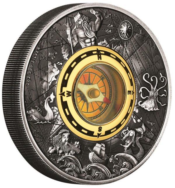 2 Unzen Silbermünze Kompass 2017