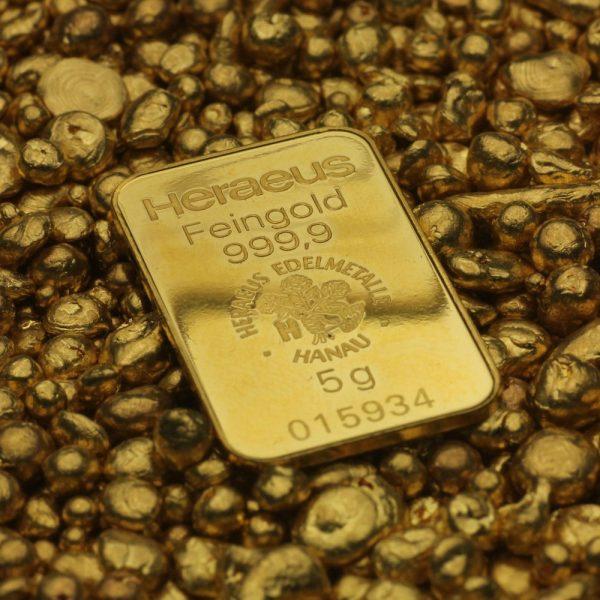5 gr Goldbarren Heraeus