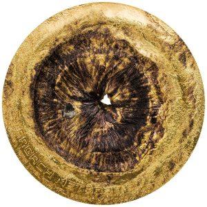 1/2 Unze Silbermünze vergoldet Chergach Meteoriteneinschlag Cook Islands