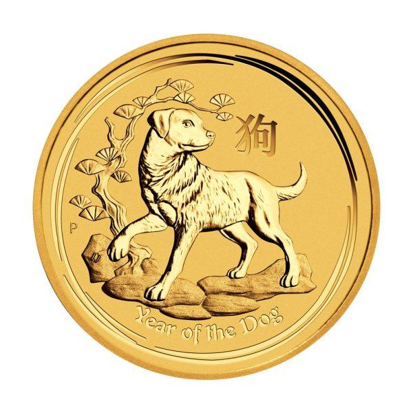 2 Unzen Goldmünze Lunar II Hund 2018