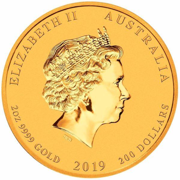2 Unzen Goldmünze Lunar II Schwein 2019