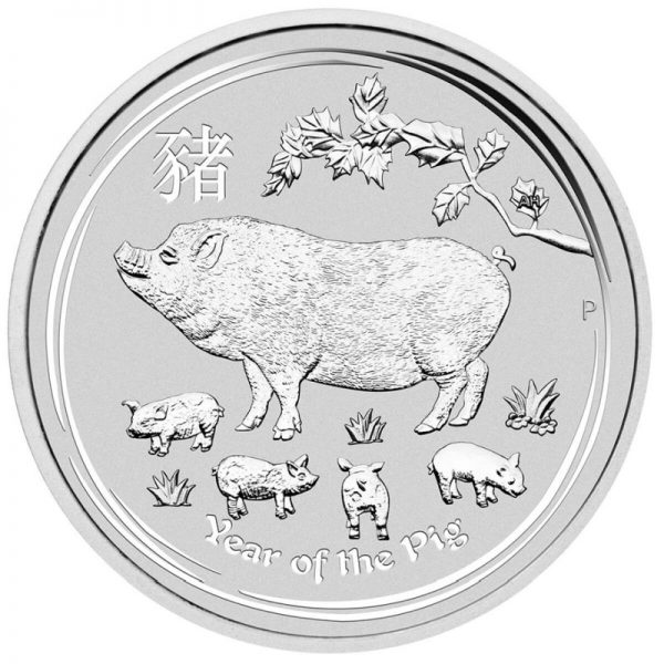 2 Unzen Silbermünze Lunar II Schwein 2019