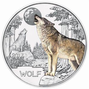 1 Kupfer-Nickel Tier-Taler-Serie Wolf