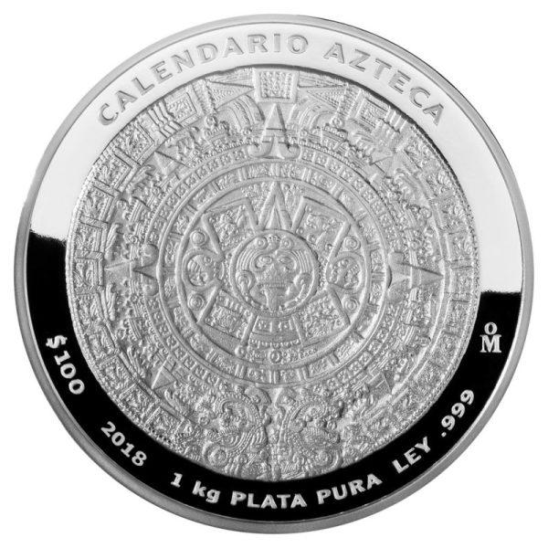 1 Kilo Silbermünze Mexiko Aztekenkalender 2018