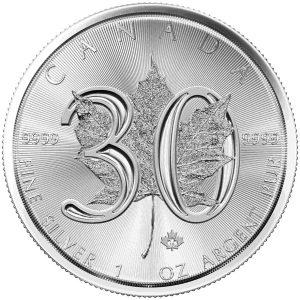1 Unze Silber Maple Leaf 30 Jahre 2018