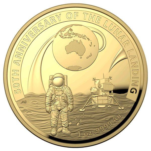 1 Unze Gold 50 Jahre Mondlandung PP