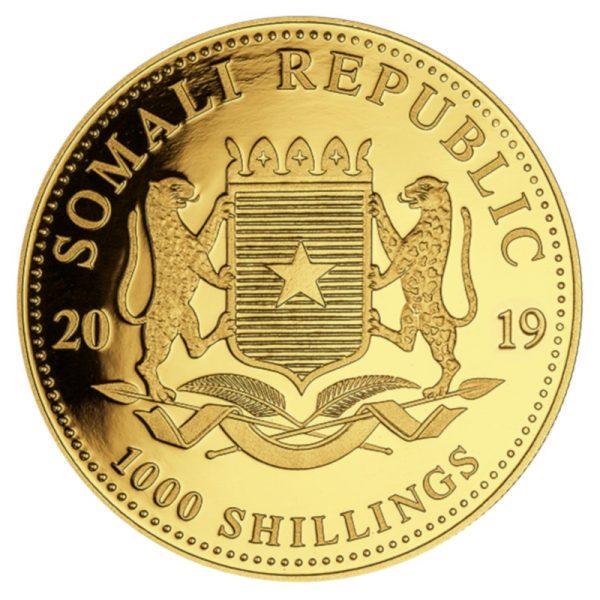 1 Unze Goldmünze Somalia Elefant 2020