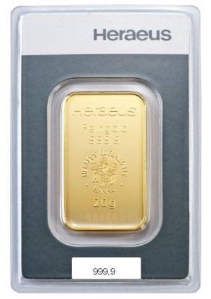 20 gr Goldbarren Kinebar Heraeus