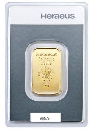 10 gr Goldbarren Kinebar Heraeus