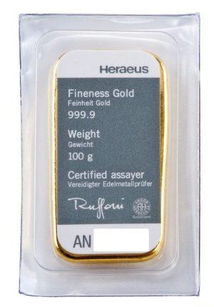 100 gr Goldbarren Heraeus gegossen